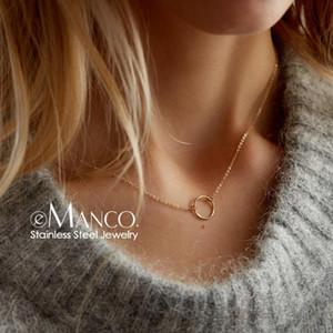 e-Manco declaração mulheres colar delicados aço inoxidável colar de jóias gargantilha pingente de moda