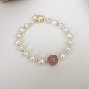 Vintage Luxury Natural Pearl Beaded Bracelet Woman Pink Strawberry Crystal Jewelry Accessories Anniversary Gift