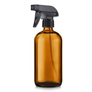 Leeren Braunglas Sprühflaschen nachfüllbaren Behälter 16oz für Ätherische Öle, Reinigungsmittel, Schwarz-Trigger Sprayer