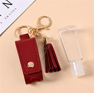 Tassel Couro luva para 30ml Hand Sanitizer Bottle Key Titular Chaveiros 2 Piece Set Bottle Caso mangas tampa Backpack Keychain Brinquedos D9110