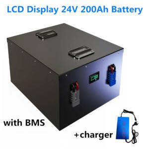 태양 광 스토리지 + 20A 배터리 충전기 BMS와 GTK LCD 디스플레이 24V 200AH 된 LiFePO4 배터리 팩 8S2P 3.2V100Ah 세포