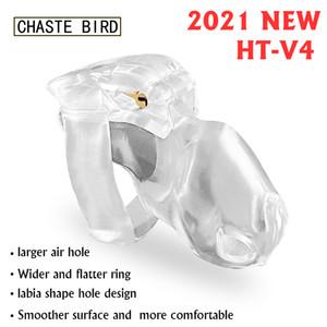 2021 nuevo macho HT V4 castidad conjunto de dispositivos Keuschheitsgurtel Cock jaula anillo del pene de la correa Bondage Fetish mágicas Lock juguetes adultos