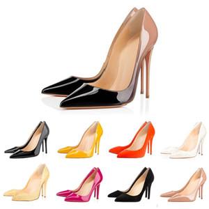 Christian louboutin  CL talones de las colmenas de las mujeres de la boda del partido nude beige rosado brillo Dividir puntas de los pies zapatos de las bombas de vestir para mujer