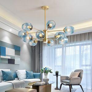 Glass bubble ball chandelier molecular pendant lamp Nordic magic bean modern living room lamp postmodern light clothing store lamp RW444