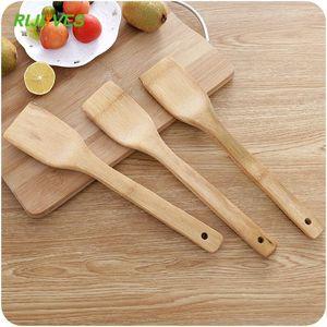 1pc Salute legno di bambù naturale Cucina scanalato Spatola Cucchiaio di miscelazione Holder utensili da cucina cibo cena Wok Pale Turners