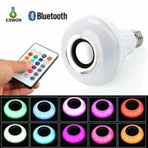 Bluetooth Светодиодные лампы E27 12W Беспроводная Смарт лампочки RGBW Audio Speaker Музыка Воспроизведение APP Пульт дистанционного управления