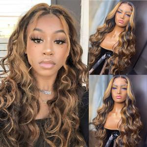 Resaltar Rubia Ombre Suelta Body Wave 13x6 Frente de encaje Pelucas para el cabello humano para mujeres negras Remy brasileño Peluca de base de seda preescalada