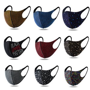 DHL-freies Verschiffen hohe Modefarbe heller Diamant Strass Maske hängende Ohren staub- und anti-Dunst waschbar verstellbare Maske Großhandel