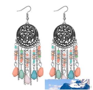 National wind designer jewelry Hollow out flowers Round card stud earrings delicate designer earrings tassel earrings Free shipping 140