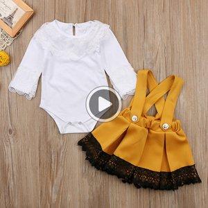 Prinss neugeborene Baby-Kleidungs-Satz Langarm La Body Tops + Zurück Bow Tutu Insgesamt Kleid 2ST Outfits Kinder Kleidung Y190515