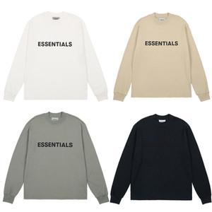 FOG timore di Dio Essentials SS20 anteriore logo a maniche lunghe T-shirt casual Oversize maniche lunghe T-shirt Uomo Donna Harajuku Hip Hop Streetwear