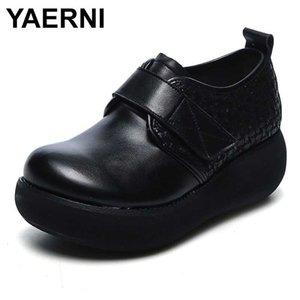 YAERNI echtes Leder Damen Schuhe weiche Woven Lederschuhe Schwarz Braun Plattform für Frauen beiläufige Ebene