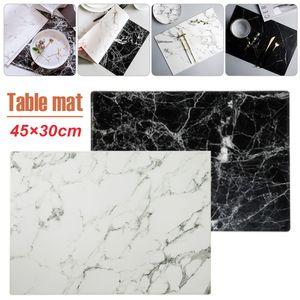 Marble Coaster 1pcs Criativo PVC Tabela Placemats Drink Coffee Cup Mat Tea Pad Mesa de jantar Preto Branco Decoração Chic