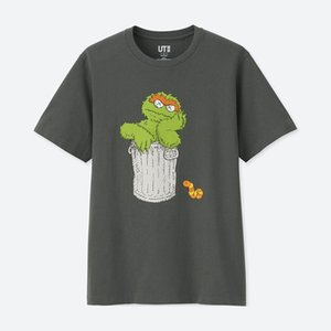 2020 الجديدة عشاق رجل قميص المرأة عارضة تي شيرت بأكمام قصيرة UNIQLO X كوس X SESAME STREET L أزياء الملابس المحملات أبلى قمزة أعلى جودة