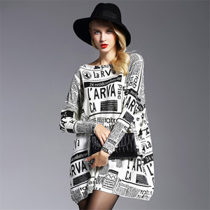 Hot Sale women's clothing ladies o-neck casual knitted sweaters women batwing sleeve newspaper printing big yards pullover sweater