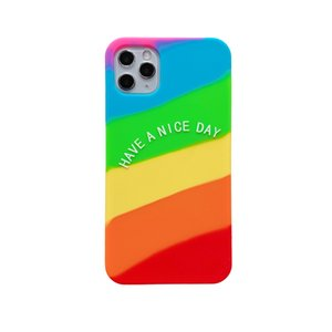 Drop Protection Colorful Cute Rainbow Soft Silicone Case For iPhone 11 Pro Max XS Max XR X 8 7 Plus