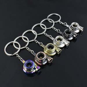 Mini Spinning Turbine Turbocharger Keychain Metal Turbo Key Chain Ring Car Bag Handbag Charm Accessories Boyfriend Gift Creative