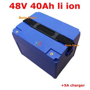 48V 40ah Lithium Ion Batteries 48V Li Batteries pour 3000W Vélo électrique Vélo électrique E Scooter + 5A Chargeur