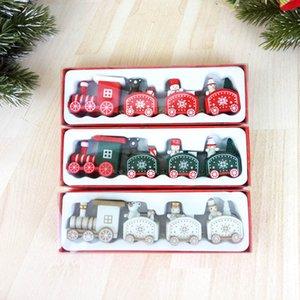 decorações de Natal do trem de madeira crianças do jardim de infância de Natal decoração de janelas Red presente do dia branca cor verde navio rápido AAD2022