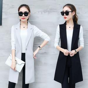 GareMay Classic Women's Long Blazer Vest Elegant Office Lady Coat Female Waistcoat Causal Suits Sleeveless Jacket Plus Size T200831