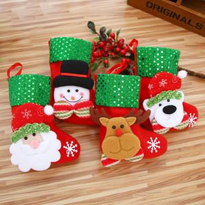 Mini Christmas Hanging Socks Cute Candy Gift Bag Snowman Santa Claus Deer Bear Christmas Stocking For Christmas Tree Decor Pendant BC BH4030