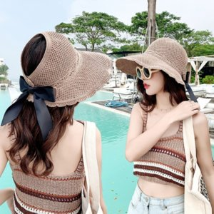 Secchio di V4EQx Donne toque toque Straw Sun-prova esterna 2020 nuovo del pescatore estate del parasole del vuoto cappello di paglia per le donne pieghevole