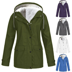 Plush Thickening Jacket Women Solid Outdoor Hiking Camping Hooded Raincoat Windproof Sport Hunting Clothing Plus Size 5XL