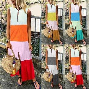 Ärmel Enges Kleid Leger Kontrast-Farbe Kleid Womens Ferien Kleidung Designer Damen Panelled Bohemian Kleid Mode