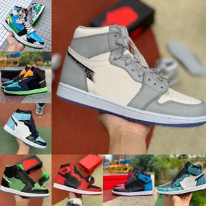 2020 Nike Air Jordan 1 retro jordans x UNC Crimson Tint sans Peur Banned Chicago Femmes Retroes Blanc Gris Chaussures de sport de