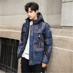 Male Warm Casual Coats Man Camouflage Tooling Down Jacket Fashion Korean Version Cardigan Zipper Button Slim Hooded Outerwear Designer