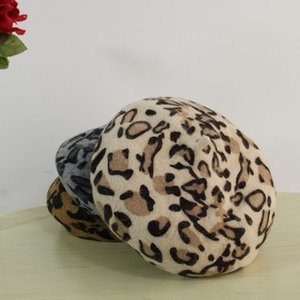 Autumn and Winter Leopard Beret Female Ins Fashion Retro Beret Wool Painter Hat Net Red Celebrity Inspired Fashion