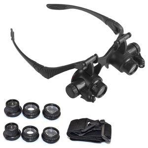 2020 LED Lupe Double Eye Lupenbrille Uhren / Elektronische Reparatur Schmuck Bewertung 10X 15X 20X 25X-Objektiv