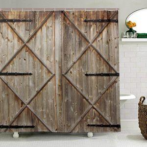 Rustico Tenda della doccia di legno vecchio granaio Porta del Casale Oak Campagna Stampa panno tessuto della tenda bagno con 12 ganci