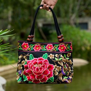 New Fashion Embroidery Women Small handbags!National Floral Embroidered Lady Top handle bags Single layer Beading Falp Carrier