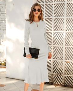 Elbise Tasarımcılar Katı Renk Dressess Dişiler Nedensel Giyim Moda Kadın Uzun Kollu Elbise İnce Mürettebat Boyun