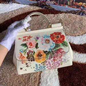 Designer-2009 Nova moda europeus e americanos Planta da flor da flor colorida impressão colorida impressão Baitie um ombro pernalta Handbag