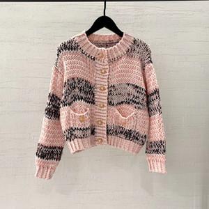 t-shirt de high-end mulheres meninas malha tops de manga longa camisola Cardigan casaco jaqueta colete blusa camisas gola Jacquard sexy tanque tee 2021