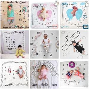 Couvertures bébé Toddle Milestone Couvertures Photographie Backdrops Prop Lettre Fleur Imprimer Couverture du nouveau-né Wrap emmailloter 30 Styles AHC1170