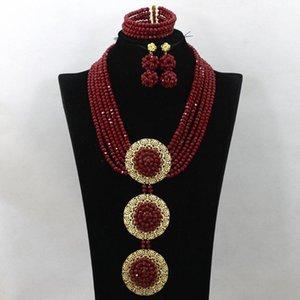 La joyería fija el cristal rojo opaco oscuro Conjunto partido de las mujeres colgante collar africano del envío libre caliente WA609 CX200808