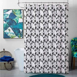 Bathroom Decor Sets with Shower Curtains and s Floral,Monochrome Leaf Silhouettes Pattern Nature Inspiration Abstract Design