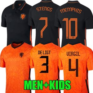 20 21 camisetas de fútbol Países Bajos Holanda DE Ligt VIRGILIO DE MEMPHIS JONEG 2020 2021 Los Paises baios amisetas uniforme hombres hijos FÚTBOL CAMISA