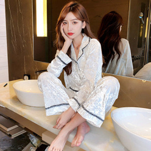 Winter and autumn velvet pajamas for women loose long sleeve two-piece outfit with sexy lace for home wear M L XL