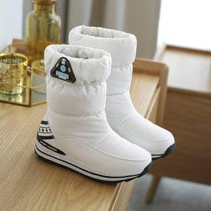Zapatos SWONCO invierno de las nuevas mujeres 2020 de Down nieve botas de mujer plana Tubo Inferior piel caliente botines a prueba de agua, además de terciopelo rojo Moda