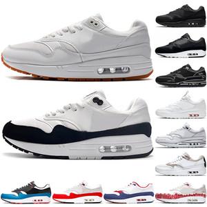 Nike Air Max 1 1s hommes femmes Chaussures de course hommes formateurs de haute qualité Script Gomme Black White Daisy pack chaussures de sport 87 coureur espadrille Taille 36-45