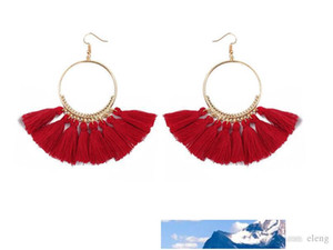 European and American brands annulus weave Silk cloth Earrings tassels hyperbole Jewelry For Women Party Gift free shipping 207