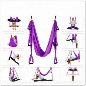 18 цветов 250 * 150см Air Летучий Йога Гамак Aerial Yoga Гамак пояса Фитнес Качели Гамак С 440Lb нагрузки CCA9761 6pcs ssnh #