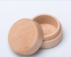 Beech Wood Small Round Storage Box Retro Vintage Ring Box for Wedding Natural Wooden Jewelry Case