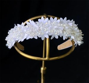 Korea Headband White Floral Flower Hairband Wedding Bridal Beads Hair Accessories Headpiece Jewelry Princess Queen Headwear Prom Jewelry