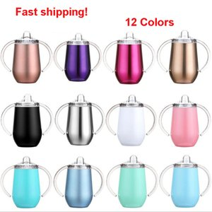 10OZ Sippy Cups Kids Water Bottles Stainless Steel Vacuum Insulated Tumbler with Handle Leak Proof Baby Cups Sea Shipping OOA8473