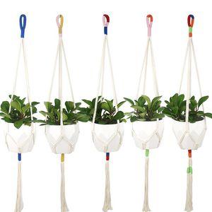 Slim Colorblock Macrame Plant Hanger Cotton Rope Hanging Plant Holder Flower Pot Holder Indoor Outdoor Balcony Decoration Wall